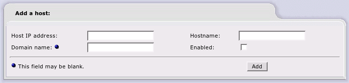 DNS Host Name Assignment Web Page
